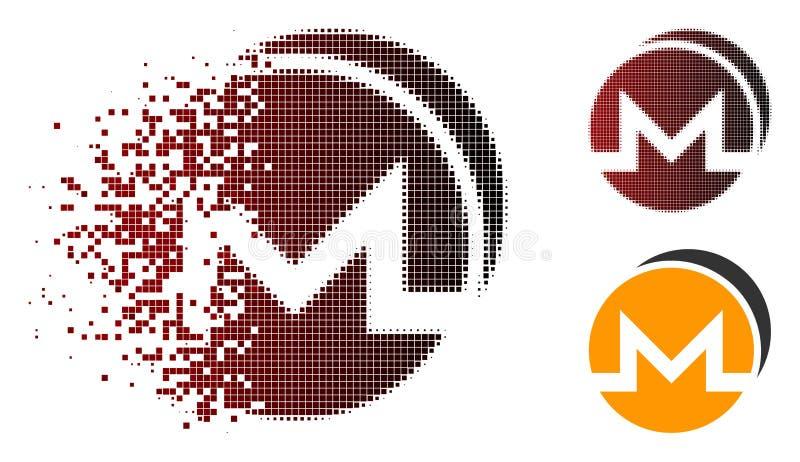 Двигая полутоновое изображение Monero Pixelated чеканит значок бесплатная иллюстрация