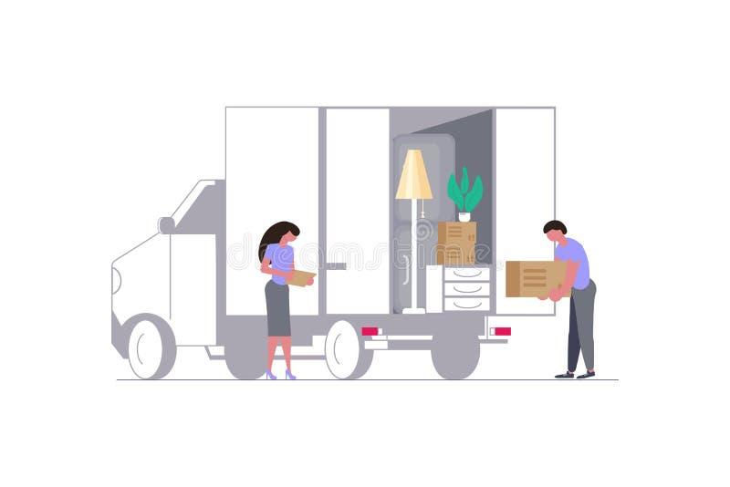 Двигая тележка с двигателями и картонными коробками иллюстрация штока