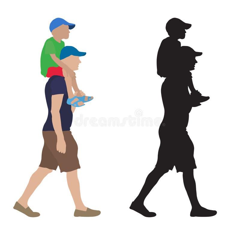 Двигая человек с ребенком сидя на его плечах и их силуэте также вектор иллюстрации притяжки corel иллюстрация вектора