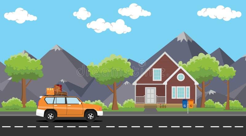 Движение автомобиля с пакетом товаров серии на дороге с горой дома и дерева как предпосылка иллюстрация штока