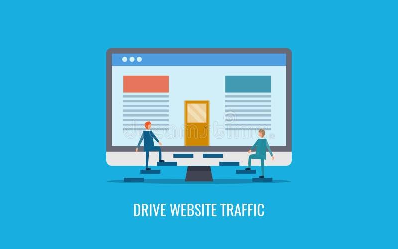 Движение вебсайта привода - интерактивные пользователи приходя для содержания вебсайта Плоское знамя вектора дизайна иллюстрация штока