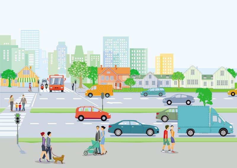 Движение в городе бесплатная иллюстрация
