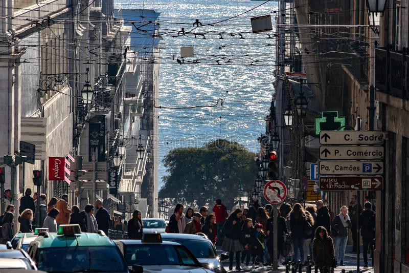 Движение в городском Лиссабоне стоковая фотография