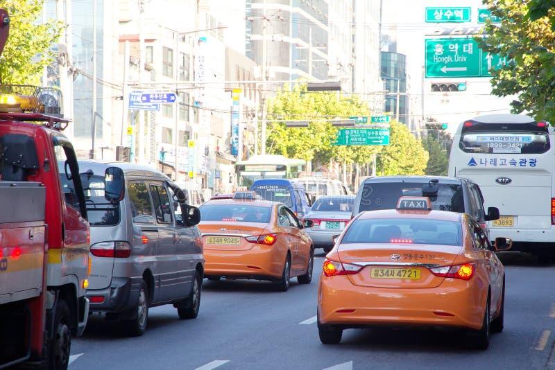 Движение в районе Gangnam стоковое фото rf