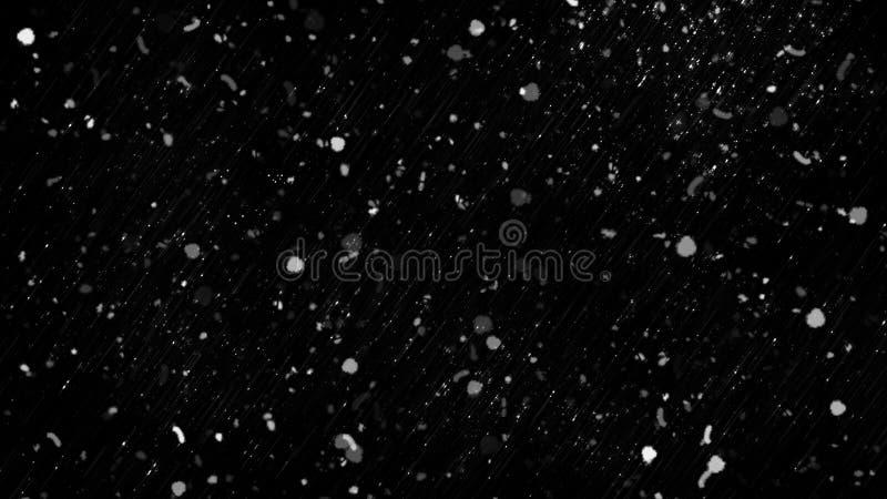 Движение замораживания белого снега приходя вниз, изолированное на черной предпосылке r стоковые фотографии rf