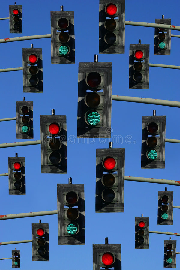 движение красного цвета зеленых светов стоковое фото rf