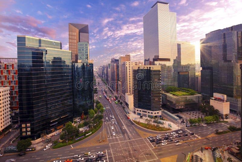 Движение на городе Сеуле Gangnam стоковые фотографии rf