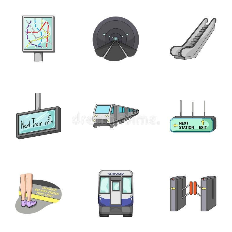 Движение, электрический переход и другой значок сети в стиле шаржа Атрибуты, публика, середины, значки в собрании комплекта бесплатная иллюстрация