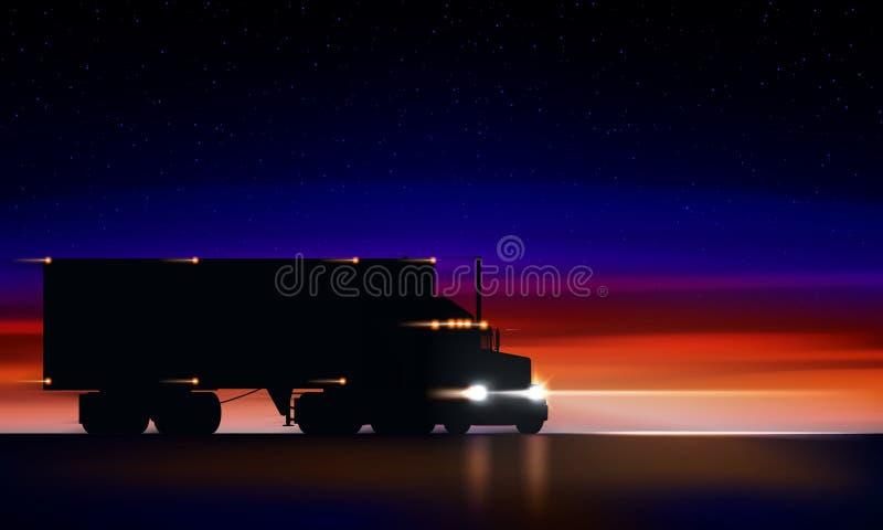 Движения тележки на шоссе в ночи Фургон больших снаряжения фар тележки semi сухой в темноте на дороге ночи на красочной звездной  иллюстрация штока