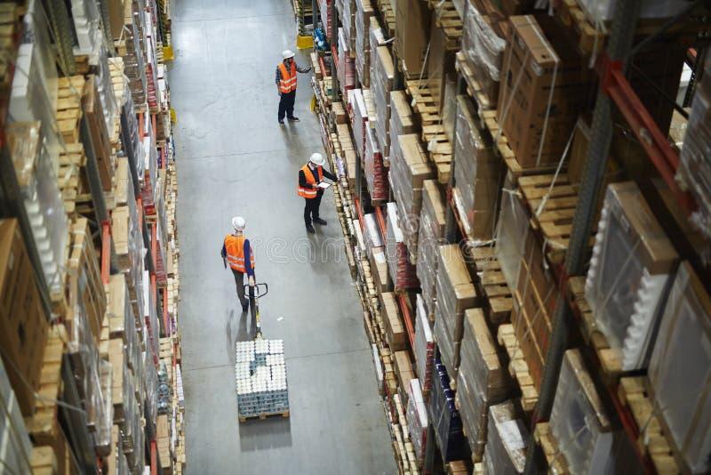 Движенцы и затяжелители работая в складе стоковые изображения rf