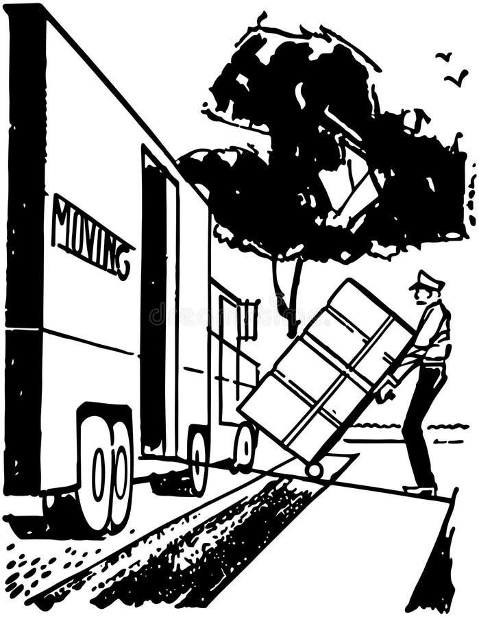Движущийся фургон загрузки человека иллюстрация штока