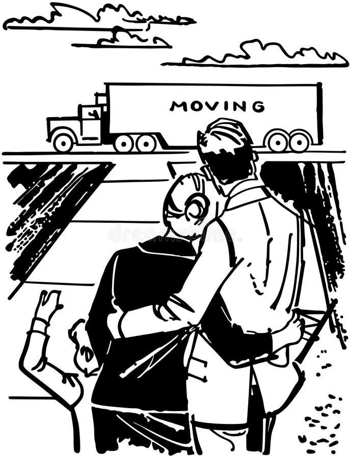 Движущийся фургон семьи наблюдая иллюстрация штока