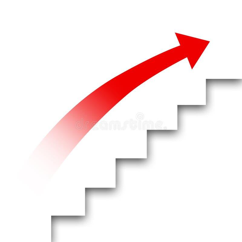 Двиньте вверх лестницу карьеры красный цвет выстилки предпосылки стрелки стоковая фотография rf