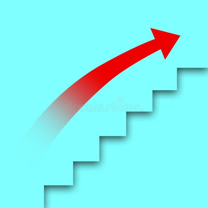 Двиньте вверх лестницу карьеры красный цвет выстилки предпосылки стрелки стоковое фото