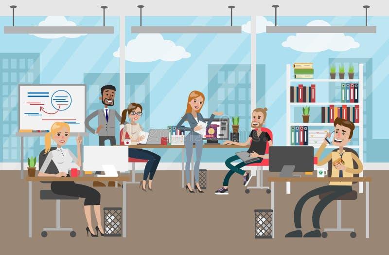 двиньте под углом людей соучастника офиса бизнесмена дела слушая софа низких сидя для того чтобы осмотреть бесплатная иллюстрация