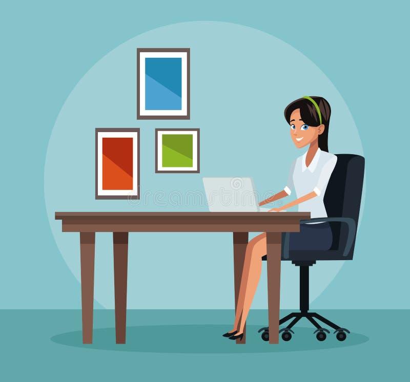 двиньте под углом людей соучастника офиса бизнесмена дела слушая софа низких сидя для того чтобы осмотреть иллюстрация вектора