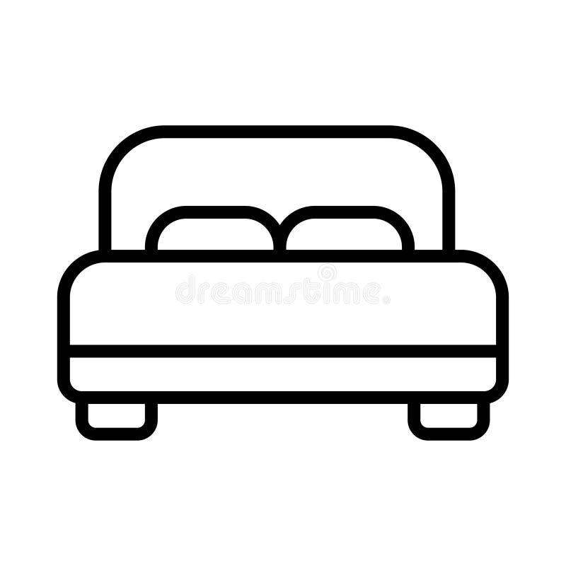 Двойная линия значок гостиничного номера Двуспальная кровать иллюстрация штока