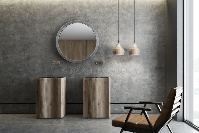 Двойная раковина в конкретном интерьере bathroom бесплатная иллюстрация