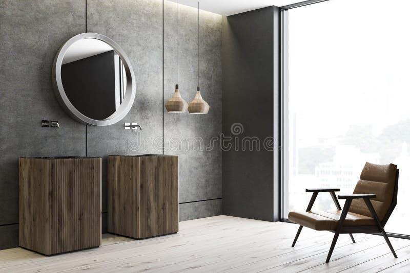 Двойная раковина в конкретном угле bathroom иллюстрация вектора