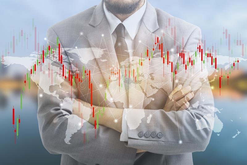 Двойная экспозиция бизнесмена и диаграммы стоковые фотографии rf