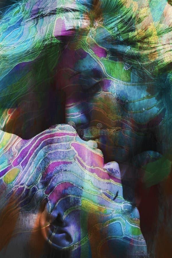 Двойная экспозиция поцелуя человека и женщины красочная стоковая фотография rf