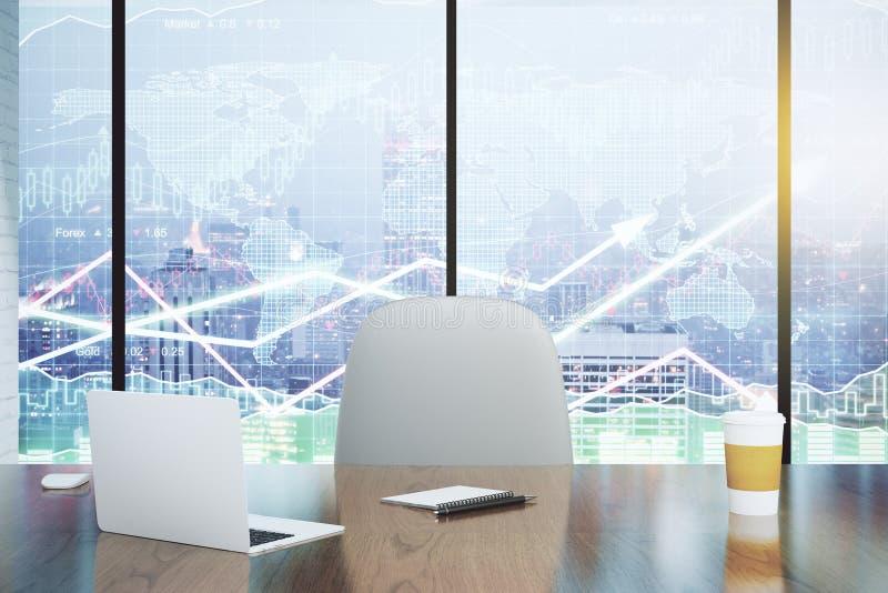 Двойная экспозиция с современными диаграммами стола и дела стоковые фотографии rf
