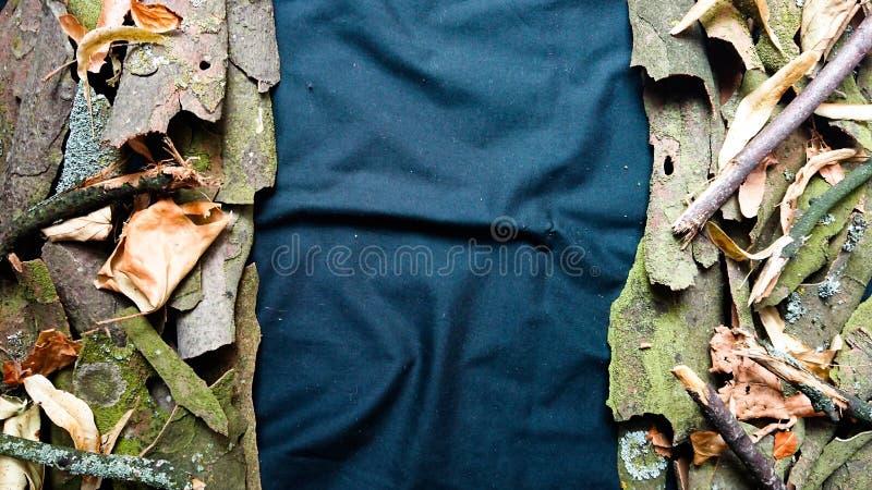 Двойник предпосылки природы встал на сторону листья и кора дерева стоковые фотографии rf