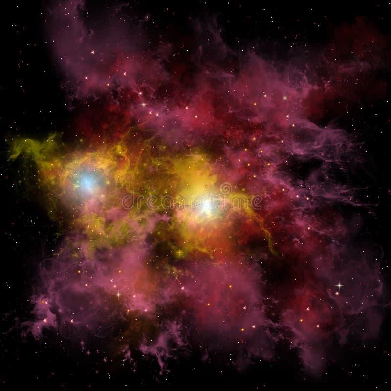 Двойное межзвёздное облако звезды иллюстрация штока