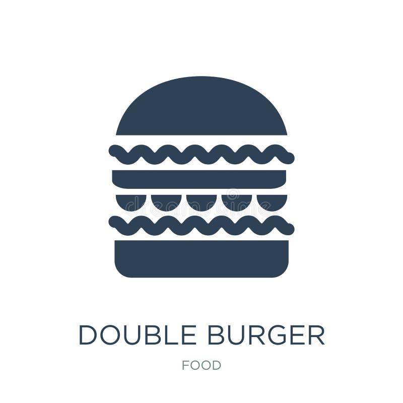 двойной значок бургера в ультрамодном стиле дизайна двойной значок бургера изолированный на белой предпосылке двойной значок вект иллюстрация штока