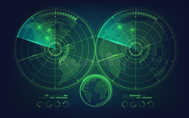 Двойной радиолокатор иллюстрация вектора