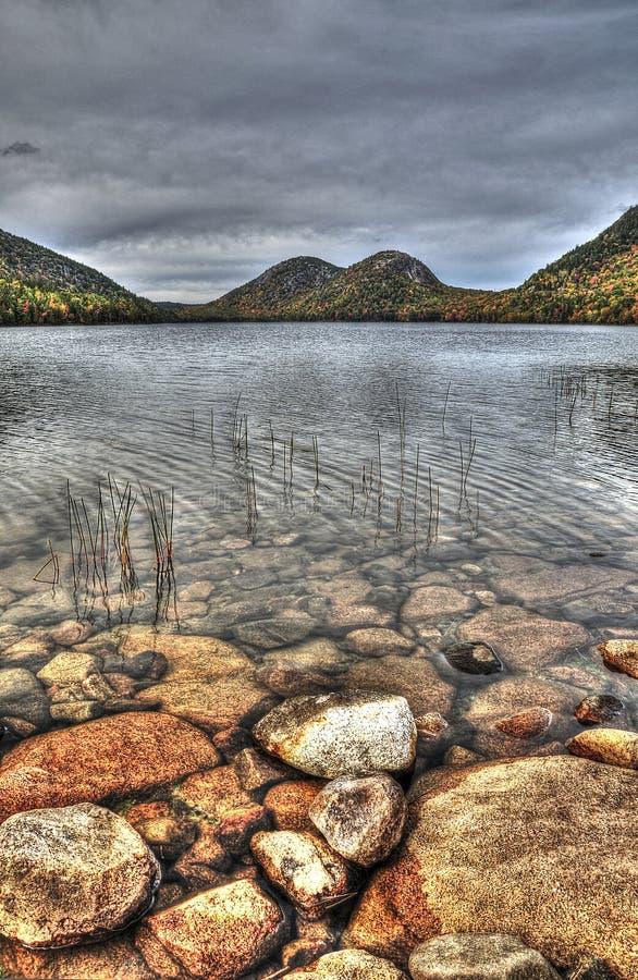 Двойные горы озером стоковое фото rf