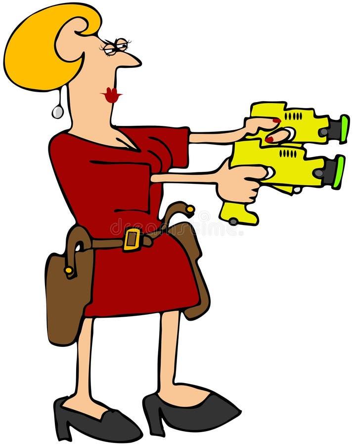 двойные пушки оглушают женщину бесплатная иллюстрация