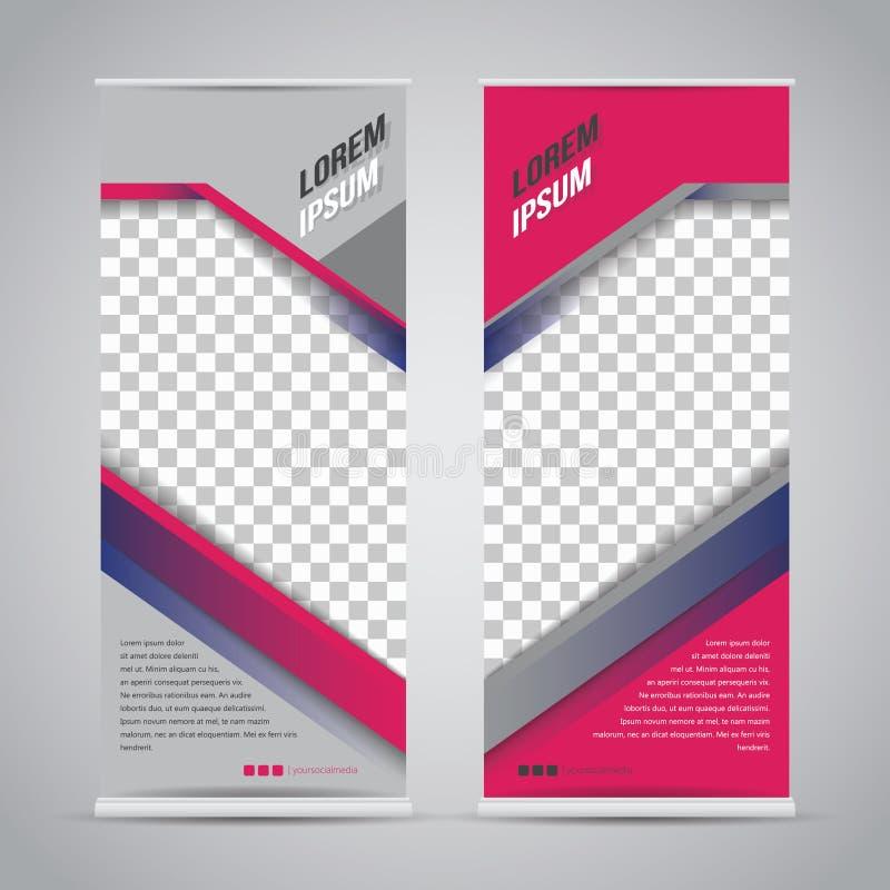Двойные розовые свертывают вверх шаблон дизайна стойки знамени иллюстрация вектора