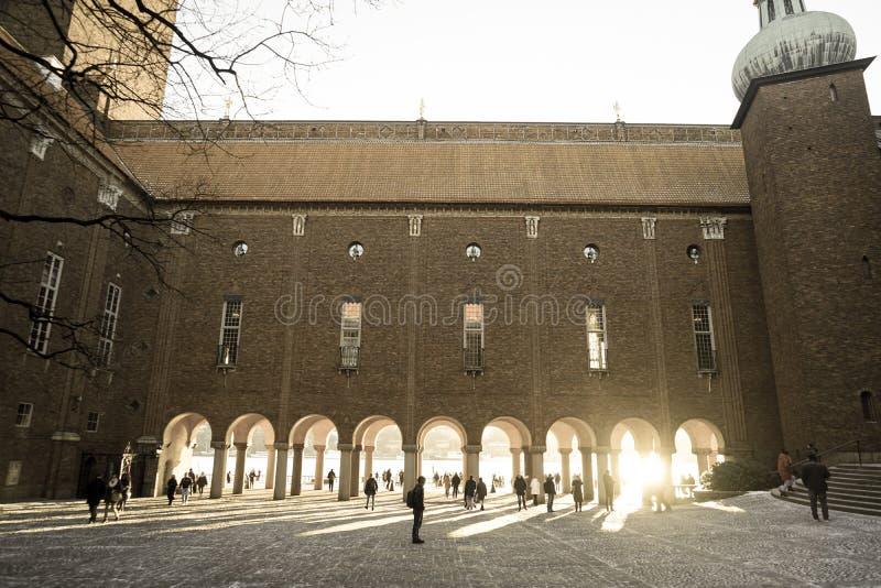 двора Швеции городской ратуши Стокгольма стоковые изображения rf