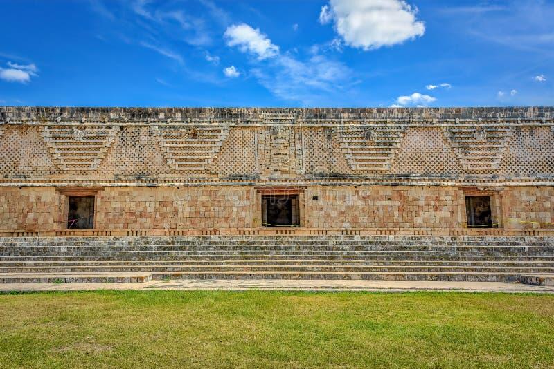 Дворец губернатора в старом майяском городе Uxmal, Мексики стоковое фото