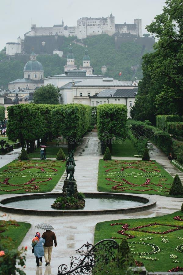 Дворец и сады Mirabell в Зальцбурге, Австрии стоковое фото rf