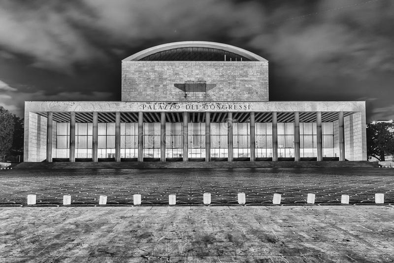 Дворец конгресса, района Eur, Рима, Италии стоковое фото rf