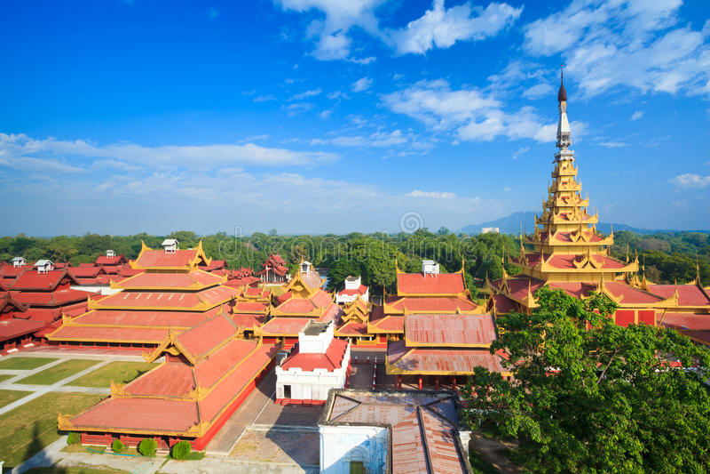 Дворец Мандалая, Мандалай, Мьянма стоковые фотографии rf