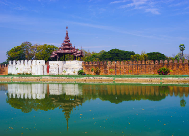 Дворец Мандалая, Мандалай, Мьянма стоковая фотография rf