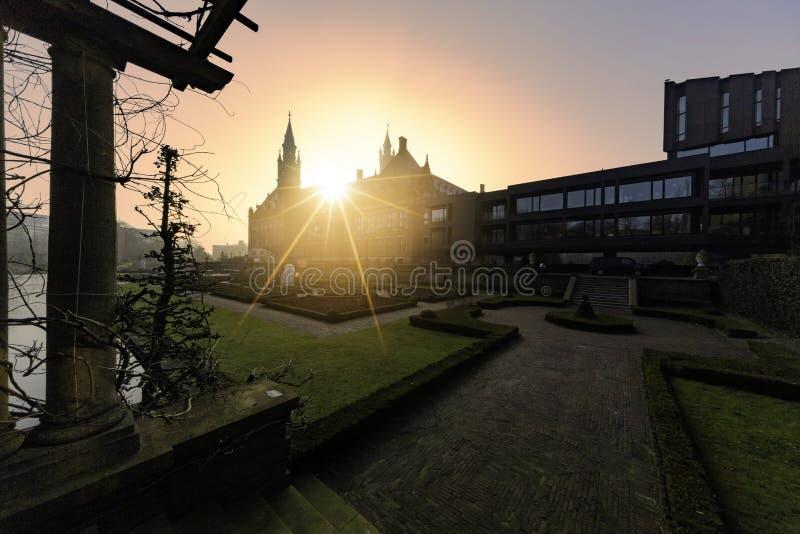 Дворец мира на заходе солнца стоковые изображения rf