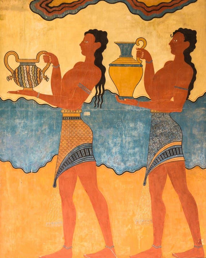 Дворец фрески Knossos в Крите, Греции стоковое фото rf