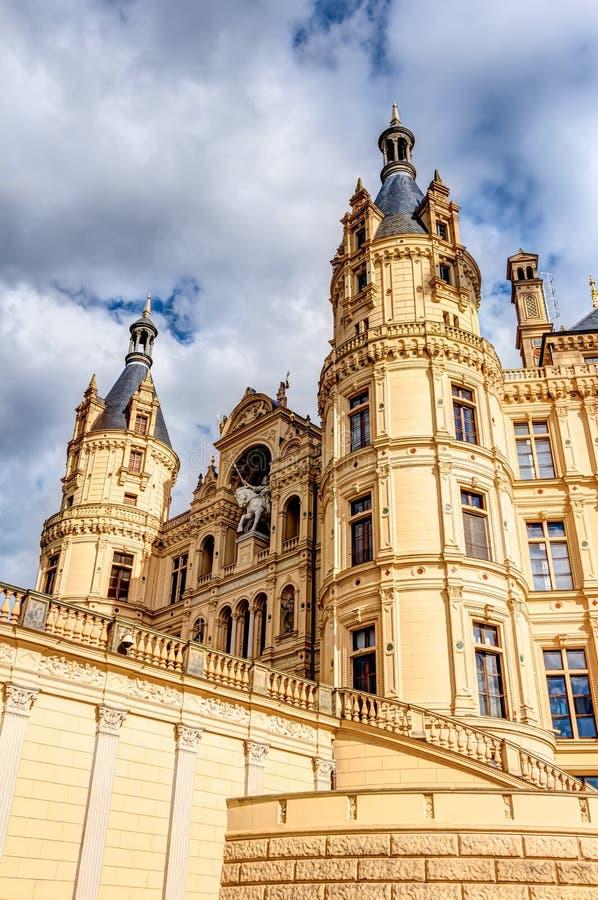 Дворец Шверина в романтичном стиле архитектуры Historicism стоковая фотография rf