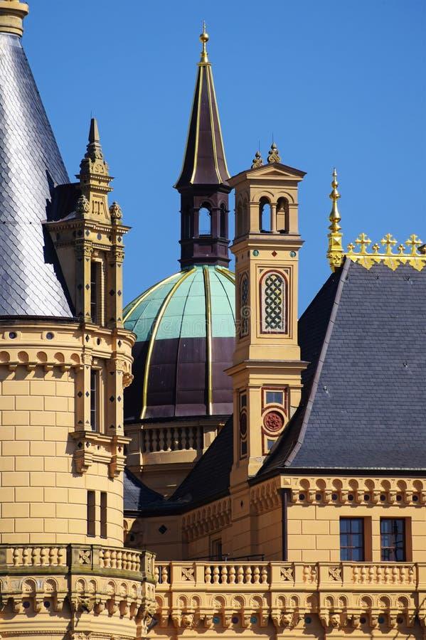 Дворец Шверина, или замок Шверина, детали роскошного sch стоковое изображение