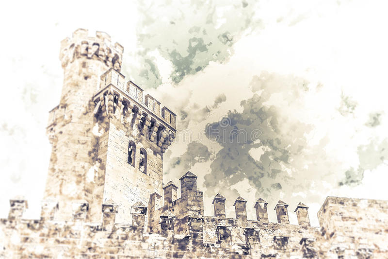 Дворец Almudaina иллюстрация вектора