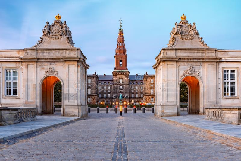 Дворец Christiansborg в Копенгагене, Дании стоковое изображение