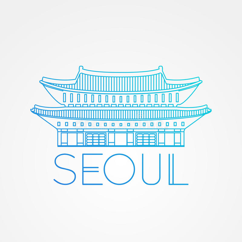 Дворец Gwanghwamun мира известный Большие ориентир ориентиры Азии Линейный современный символ значка вектора стиля Сеула, Южной К бесплатная иллюстрация