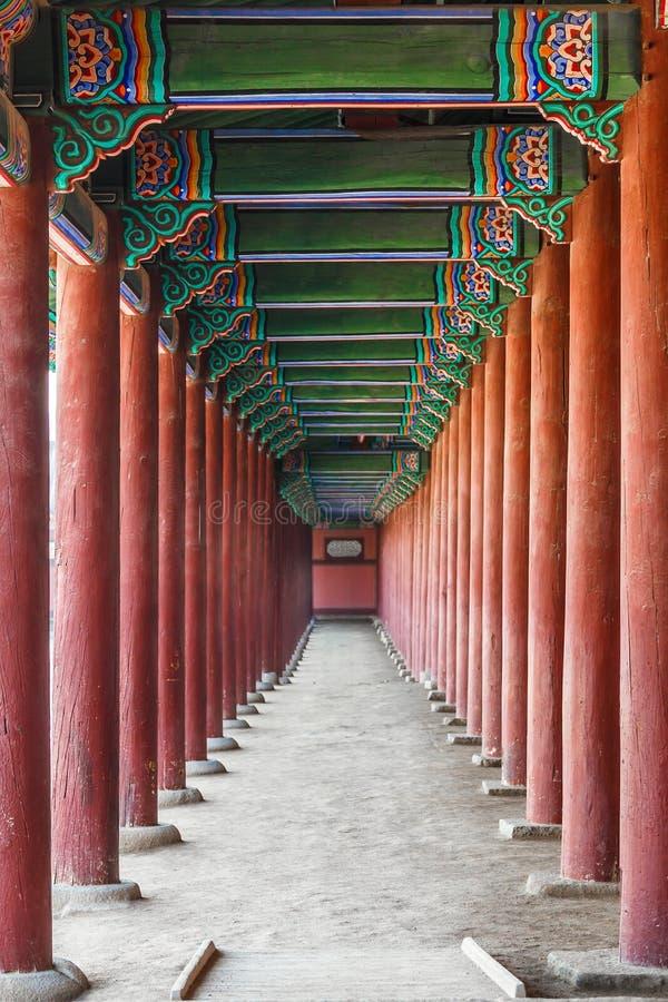 Дворец Gyeongbokgung внутри архитектуры стоковые изображения
