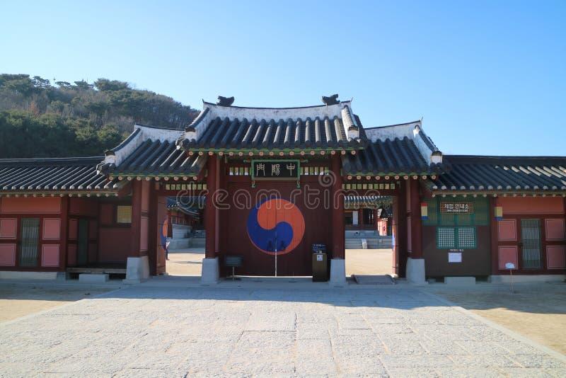 Дворец Hwaseong Haenggung крепости Сувона Hwaseong всемирного наследия ЮНЕСКО Сеула Кореи стоковая фотография