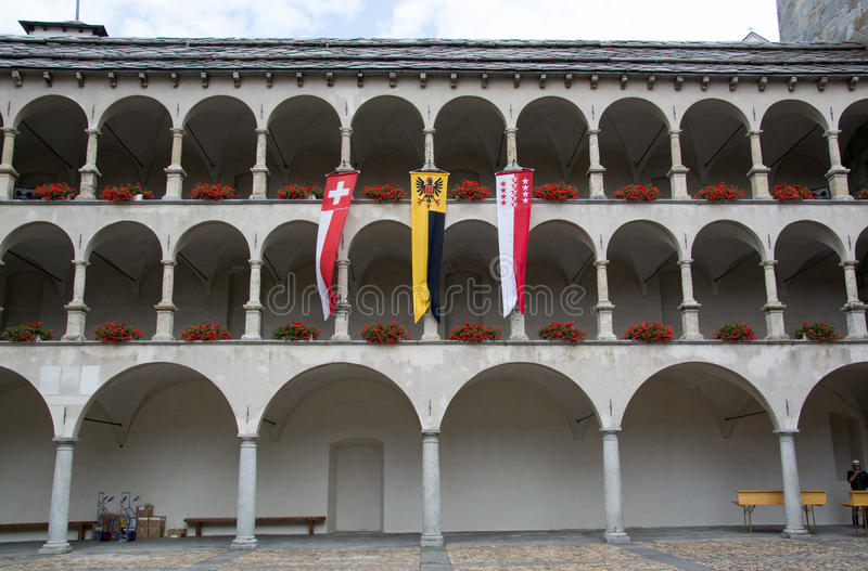 Дворец Stockalper, бриг, Вале, Швейцария стоковое изображение
