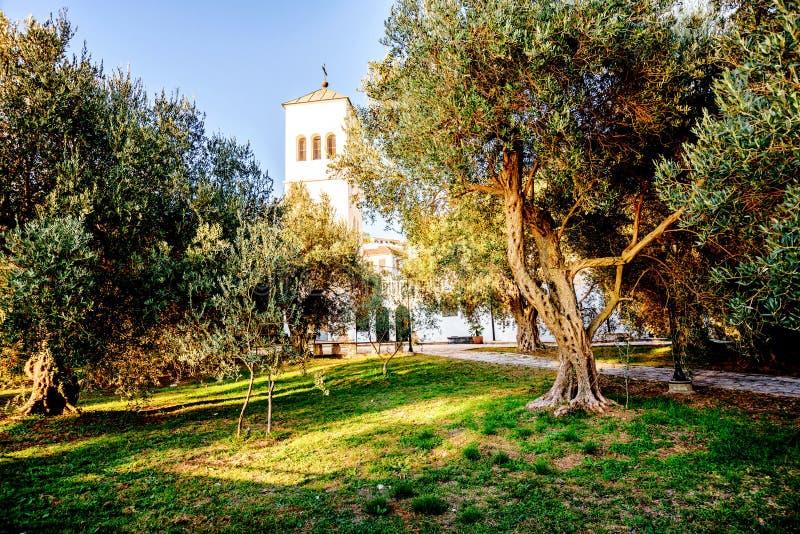 Двор церков St Nikola (Sveti Nikola) в Ulcinj, стоковые фотографии rf